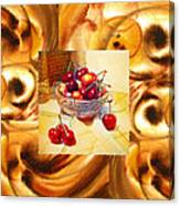 Cappuccino Abstract Collage Cherries Canvas Print