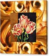 Cappuccino Abstract Collage French Roses Canvas Print