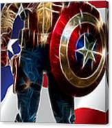 Captain America In Front Of Old Glory Canvas Print
