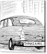 Captionless. Bumper Sticker On Car Reads: Thanks Canvas Print