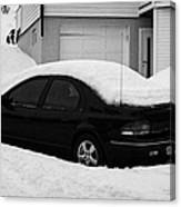 Car Buried In Snow Outside House In Honningsvag Norway Europe Canvas Print
