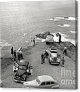 Car Over Edge On Highway One  Big Sur  California    March 27 1947 Canvas Print