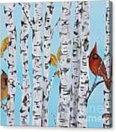 Cardinals Among The Birch-e Canvas Print
