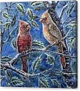 Cardinals And Holly Canvas Print