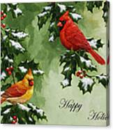 Cardinals Holiday Card - Version With Snow Canvas Print