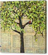 Cardinals In A Tree Canvas Print
