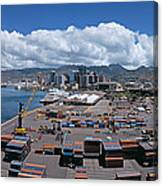 Cargo Containers At A Harbor, Honolulu Canvas Print