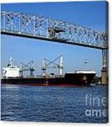 Cargo Ship Under Bridge Canvas Print