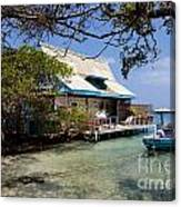 Caribbean House And Boat Canvas Print