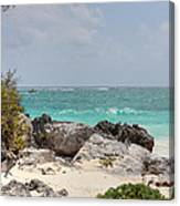 Caribbean Sea And Beach At Tulum Canvas Print