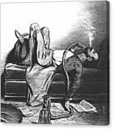Caricature Of The Romantic Writer Searching His Inspiration In The Hashish Canvas Print