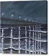 Carolina Beach Pier By Night Canvas Print