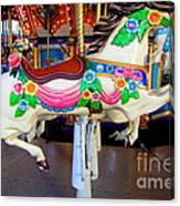 Carousel Horse With Flower Drape Canvas Print