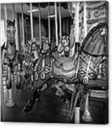 Carousel Horses In Black And White Canvas Print
