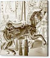 Carousel In Negative Sepia Canvas Print