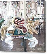 Carousel Merry Go Round Horses - Dreamy Baby Blue Carousel Horses Carnival Ride And American Flag Canvas Print