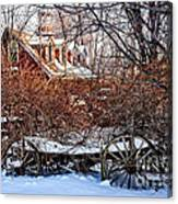 Carriage House In Snow Canvas Print