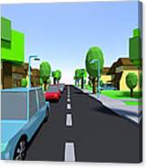 Cars Driving Suburban Streets   Canvas Print