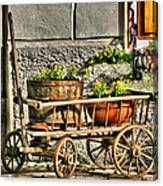 Cart And Flowers In Slovenia Canvas Print