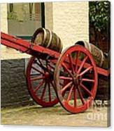 Cart Loaded With Wood Beer Barrels Canvas Print