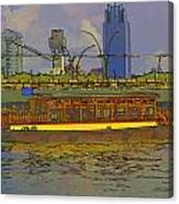 Cartoon - Colorful River Cruise Boat In Singapore Next To A Bridge Canvas Print