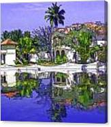 Cartoon - Cottages And Lagoon Water Canvas Print