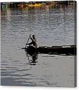 Cartoon - Kashmiri Man Rowing A Small Wooden Boat In The Waters Of The Dal Lake Canvas Print