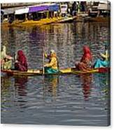 Cartoon - Ladies On A Wooden Boat On The Dal Lake With The Background Of Hoseboats Canvas Print