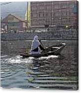 Cartoon - Light Following This Lady On A Wooden Boat On The Dal Lake In Srinagar Canvas Print