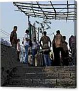 Cartoon - Locals And Tourists Standing At The Top Of The Steps Near The Dal Lake Canvas Print