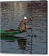 Cartoon - Man Plying A Wooden Boat On The Dal Lake Canvas Print