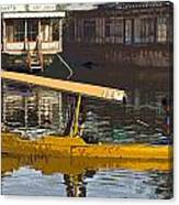 Cartoon - Man Plying Wooden Shikara With Side Lettering Of Kodak Express In The Dal Lake Canvas Print