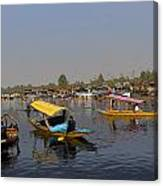 Cartoon - Multiple Number Of Shikaras On The Water Of The Dal Lake In Srinagar Canvas Print