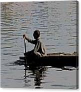 Cartoon - Splashing In The Water Caused Due To Kashmiri Man Rowing A Small Boat Canvas Print