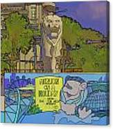 Cartoon - Statue Of The Merlion With A Banner Below The Statue Canvas Print