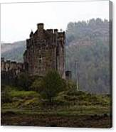 Cartoon - Structure Of The Eilean Donan Castle In Front With Dry Part Of Lake Canvas Print