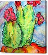 Cartoon Cactus Canvas Print