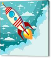 Cartoon Rocket Taking Off Against The Canvas Print