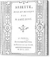 Cartouche, 1765 Canvas Print