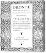 Cartouches, 1534 Canvas Print