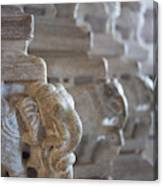 Carved Elephant Sculpture On Columns Canvas Print