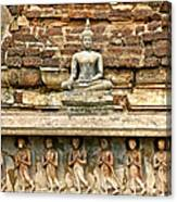 Carved Figures At Wat Mahathat In 13th Century Sukhothai Histori Canvas Print