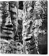 Carved Stone Faces In The Khmer Temple Canvas Print