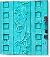 Carved Turquoise Door Canvas Print