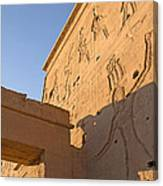 Carved Wall Of The Temple  Philae  Canvas Print