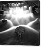 Cascading Waterfall Black And White Canvas Print