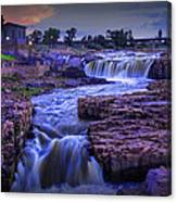 Cascading Waterfalls At Sunset Canvas Print
