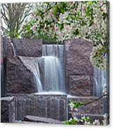 Cascading Waters At The Roosevelt Memorial Canvas Print