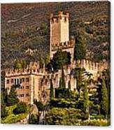 Sunset On The Castle On Lake Garda Italy Canvas Print