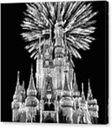 Castle With Fireworks In Black And White Walt Disney World Canvas Print